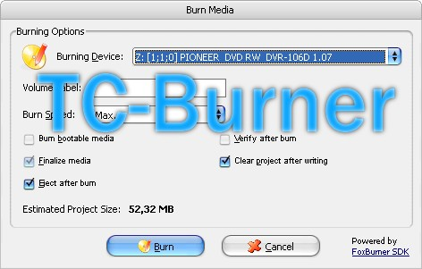 TCBurner Webseite